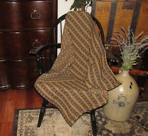 Prim-Antique-Vtg-Style-Acorn-Weave-Black-Tan-Cotton-32-034-COVERLET-Square-RQ9WSS