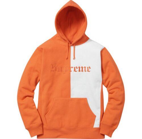 SUPREME Split Old English Hooded Sweatshirt Plum Bright Orange M box logo F//W 17
