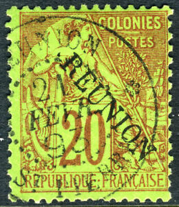 Reunion-1891-French-Colony-20-Red-SG-23-VFU-N915