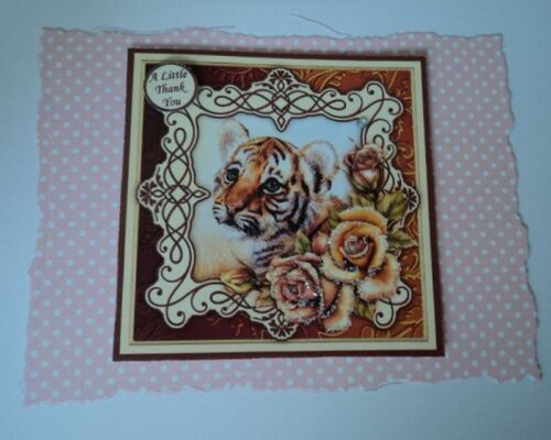 PK 2 TIGER CUB *A LITTLE THANK YOU* EMBELLISHMENT TOPPERS FOR CARDS AND CRAFTS