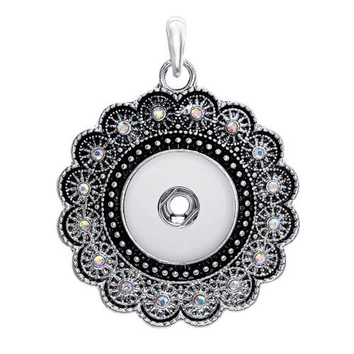 18 mm Charme Cristal Alliage Pendentif pour Fit Noosa Collier Snap Chunk Bouton A74