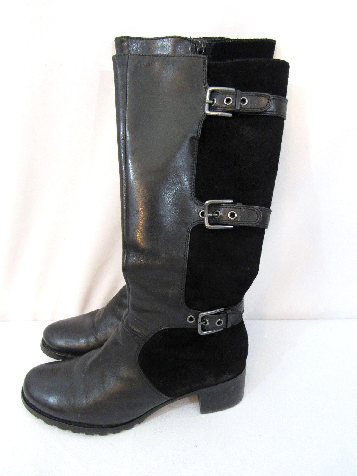 Hebilla ECCO de Cuero Negro Gamuza Hampton Grueso Talón la rodilla botas altas