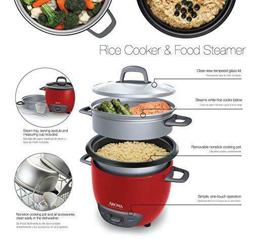 Aroma Housewares ARC-743-1NGR 6-Cup Pot Style Rice Cooked 3-Cup UNCOOKED