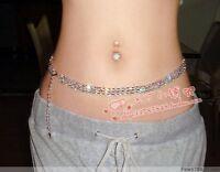 New Lot Fashion 1-3Rows Long Silver Golden Crystal Rhinestone Waist Chain Belts