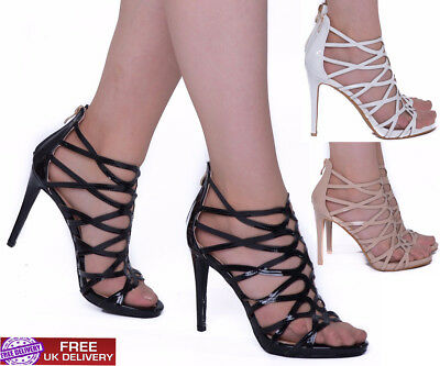 Womens High Stiletto Heels Sandals Cut Out Caged Ladies Strappy Party Girl Shoes Strukturelle Behinderungen