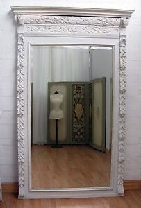 ENORMOUS-ANTIQUE-FRENCH-ORNATELY-CARVED-PAINTED-OAK-MIRROR