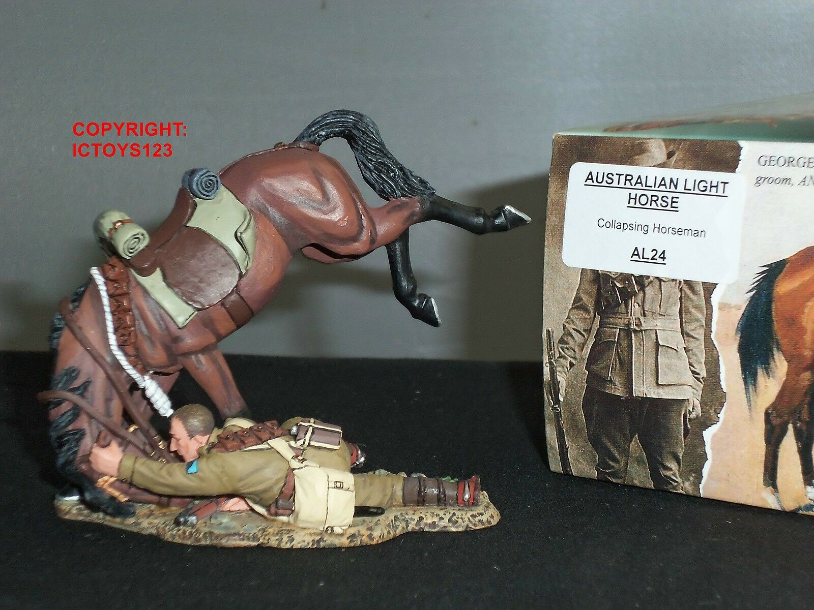 KING AND COUNTRY AL24 AUSTRALIAN LIGHT HORSE FALLING HORSEMAN METAL TOY SOLDIER