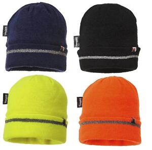 fd65461e Portwest B023 Reflective Trim Knit Beanie Hat Warm Thinsulate Lined ...