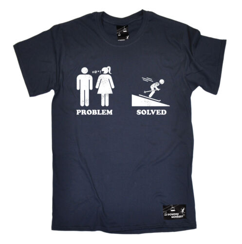 Problem Solved Ski T-SHIRT Skiing Skier Apparel Skis Comedy birthday funny gift