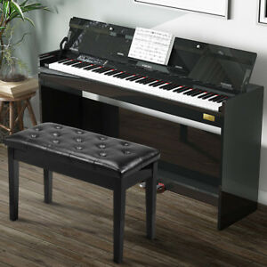 Marvelous Details About Black Leather Piano Bench Storage Artist Wood Keyboard Double Caraccident5 Cool Chair Designs And Ideas Caraccident5Info