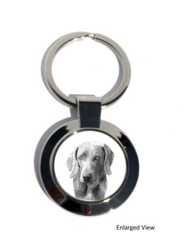 Weimaraner Dog Round Chrome Plated Keyring Boxed Gift