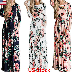 5feae1bb9f1 Women Floral Print Long Sleeve Beach Dress Lady Evening Party Long ...