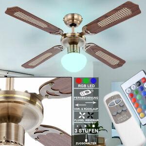 Ventilateur plafond DEL Refroidisseur Lampe RGB Télécommande éclairage moins fort Vent