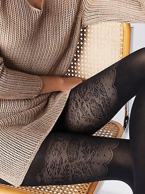 FIORE Avenue Luxury 40 Denier Super Fine Decorative 3D Patterned Tights