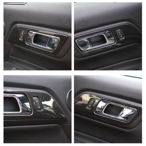 Carbon Fiber Car Door Handle Frame Cover Trim 2pcs For Ford Mustang 2015-2018