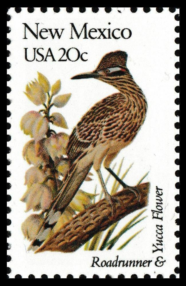 1982 20c State Birds & Flowers, New Mexico, Roadrunner,