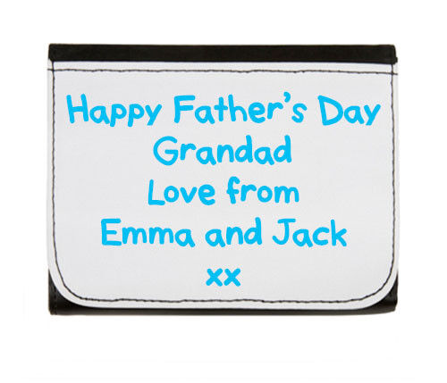 Your own text Personalised Printed Mens Synthetic Wallet Fathers day gift