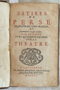 AULO-PERSIO-FLACCO-SATIRES-DE-PERSE-LATINO-FRANCESE-TRADUZIONE-LENOBLE-1706