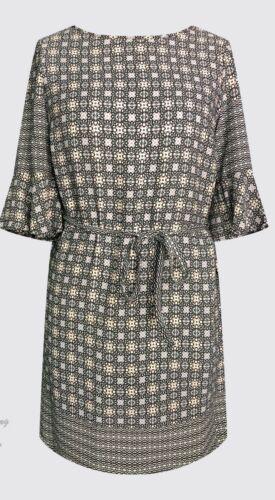 Mujer señoras del vestido de cambio de manga corta gris impresión frontera Azteca Tamaños UK 10-EU 38