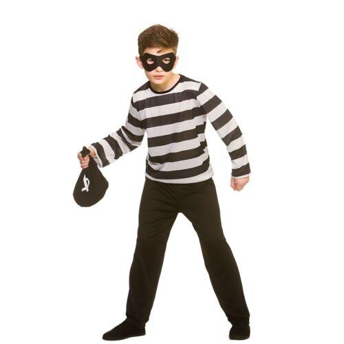 Child SNEAKY ROBBER Prisoner Criminal Boys Girls Fancy Dress Costume Burglar Kid