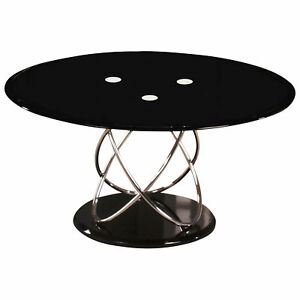 Details About Chrome Glass Metal Oval Coffee Table Clear Black White