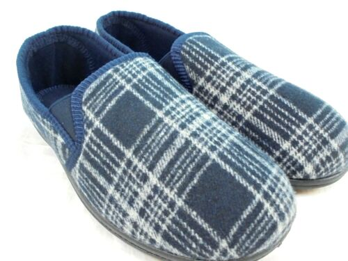 MENS NEW TOP QUALITY NAVY//GREY CHECK FULL SLIPPERS HOUSE SHOE SIZE 7-11