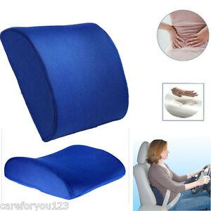 memory schaum lendenkissen r ckenst tze kissen autositz stuhl b roart einfach ebay. Black Bedroom Furniture Sets. Home Design Ideas