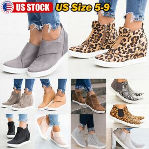 Women-039-s-Casual-Trainers-Shoes-Round-Toe-Cut-Flat-Zip-Slip-On-Sneakers-Loafers