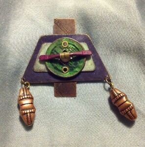 Artistic-Handmade-Metal-Pin-Brooch-With-Copper-And-Beads