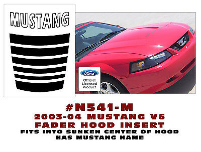 N541-M-S3 2003-04 FORD MUSTANG FADER HOOD INSERT DECAL MUSTANG NAME