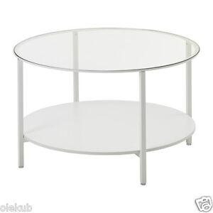 Ikea vittsj coffee table metal frame modern white glass for Metal frame glass coffee table