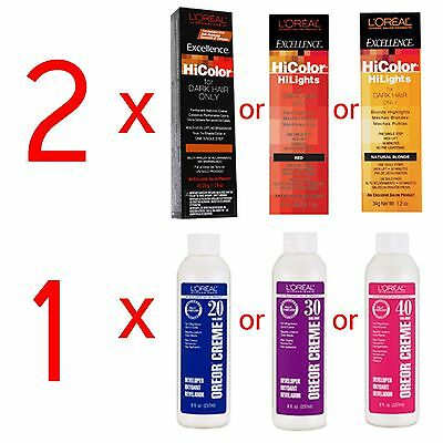 2 Loreal Excellence HiColor HiLights Permanent Hair Color Oreor Developer Creme
