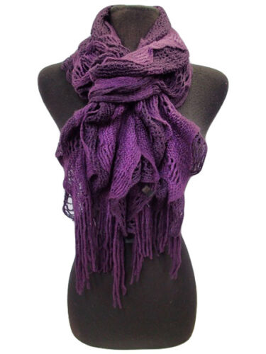 Stylish Two Tone Acrylic Ruffle Fringe Vintage Knit Scarf Wrap 5 Colors Choose