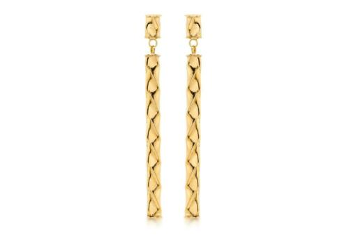 9ct Yellow Gold Twist Bar Long Stick Drop 43mm Modern Solid Earrings Gift Boxed
