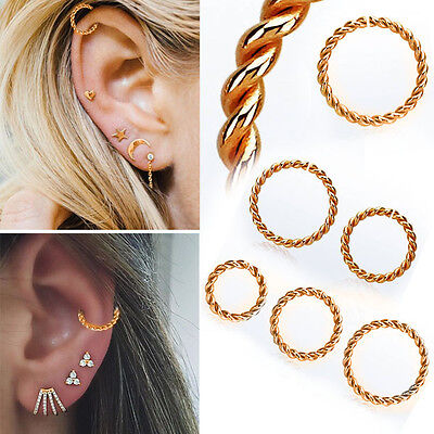Nose Ring Helix Colorful Seamless Continuous Twisted Hoop 8-10mm 16G Piercing