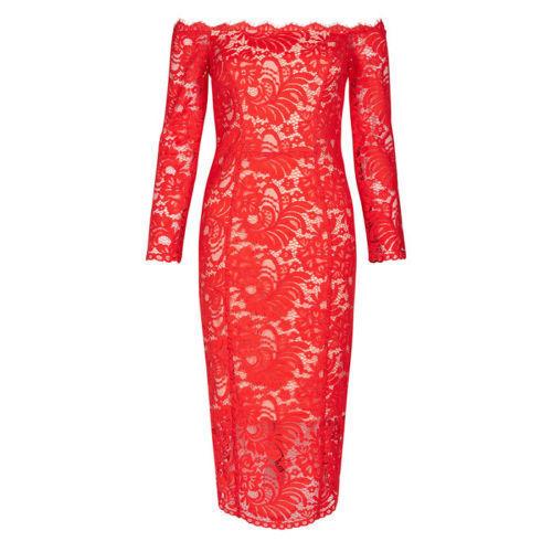 BNWT COAST YASMIN rot LACE BARDOT OFF THE THE THE SHOULDER DRESS Größe UK 12 7f9a23