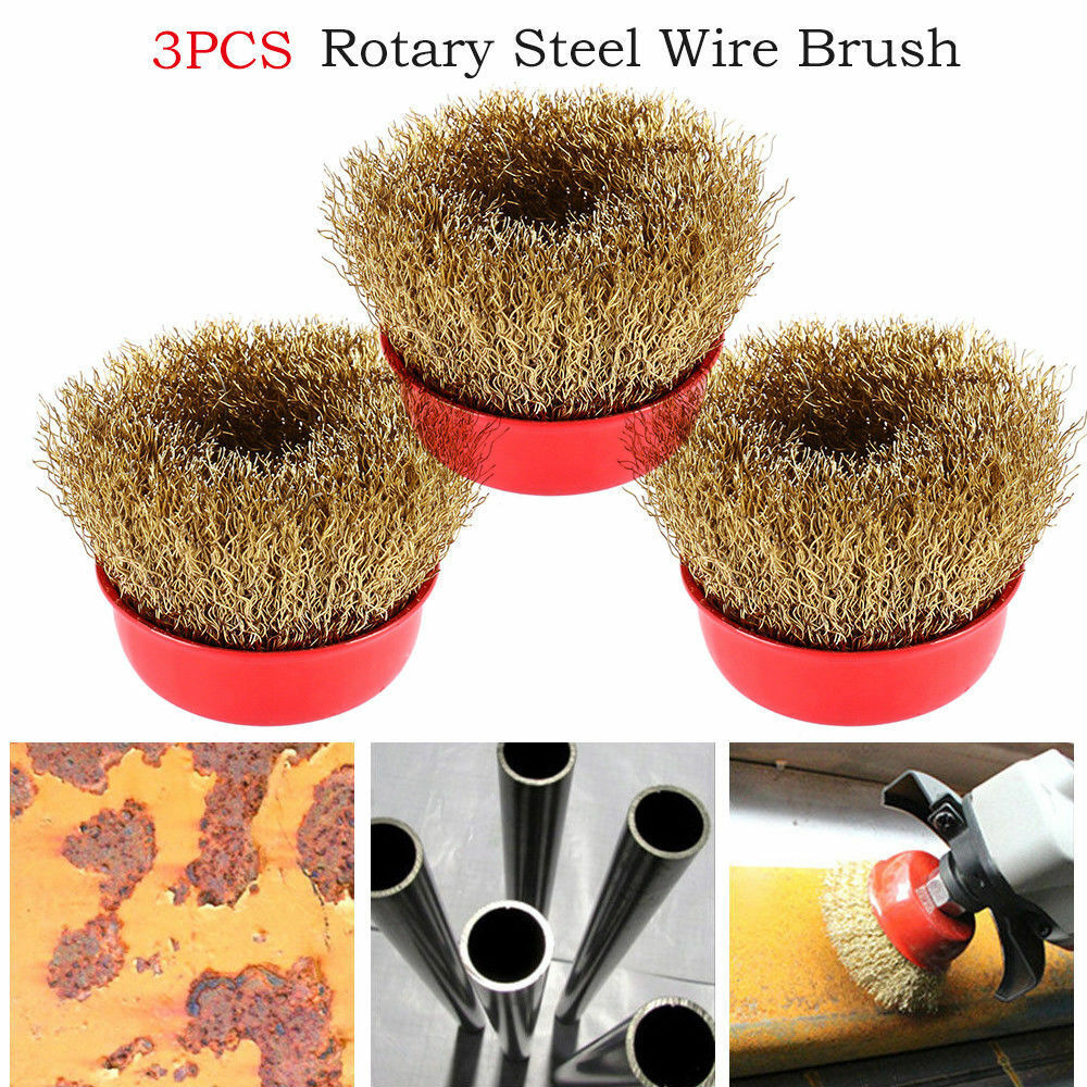 3PCS 65mm Rotary Brass Steel Wire Brush Crimp Cup Sets wheel Angle Grinder M14