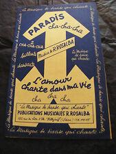 Partitura Paraíso Cha Cha Cha R Rosalba L'amour chante dans ma vida 1959