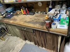 Vintage Industrial Stainless Steel Workbench Withshelves Butcher Block Top