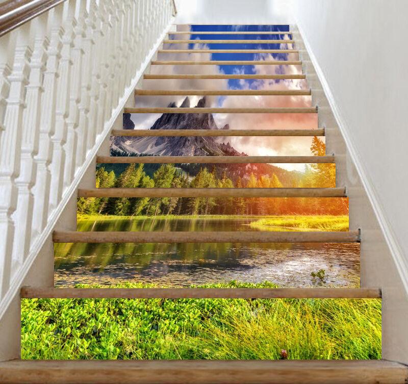 3D Sky mountain 25 Stair Risers Decoration Photo Mural Vinyl Decal Wallpaper UK