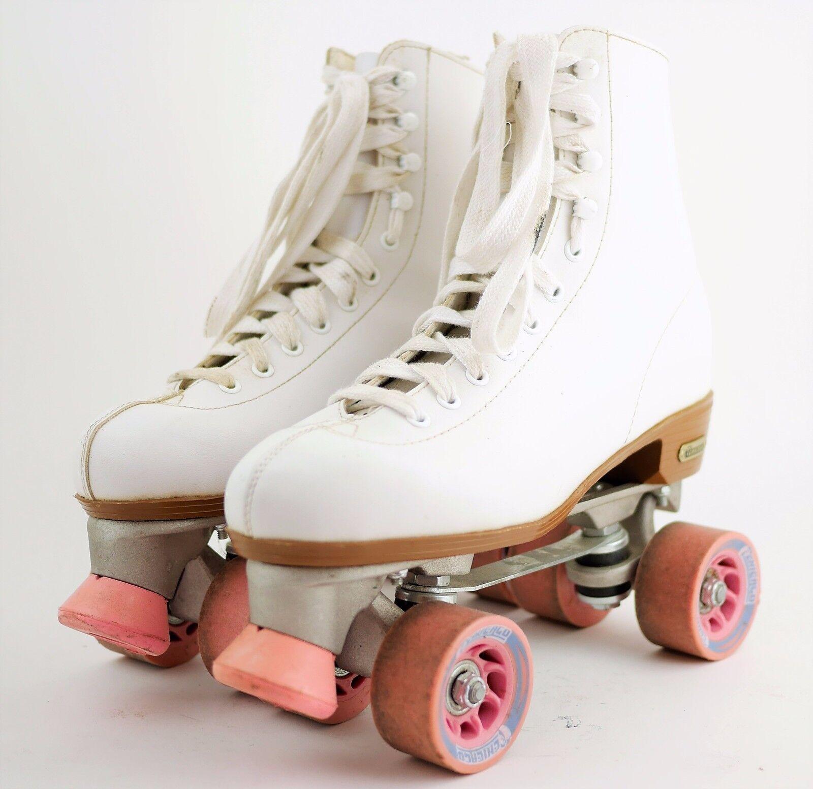 CHICAGO Weiß Leder Roller QUAD Skates QUAD Roller SKATES Chicago Plates Wheels Damen 10 918da3