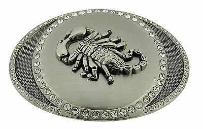 Scorpion rhinestone Belt Buckle Western Metal Cowboy Silver New Mens Rodeo Large