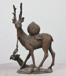 bronze 15cm vieux chinois feng shui cerf sika animal peach bat 寿 lucky sculpture