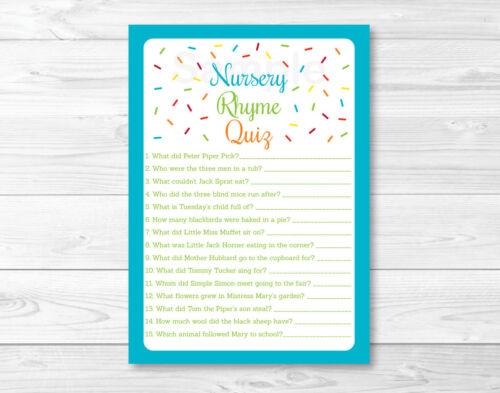 Baby Sprinkle Rainbow Blue Baby Shower Nursery Rhyme Quiz Game Printable