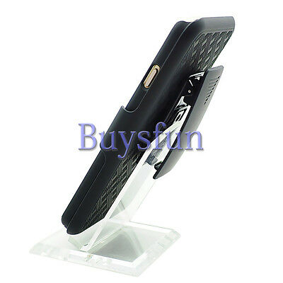 Black Square Hard Back Cover Case With Belt Clip Holster FOR iPhone 6 6G