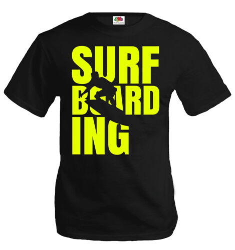 buXsbaum® Herren Unisex T-Shirt Surfboarding Type Surfboard Wassersport Meer