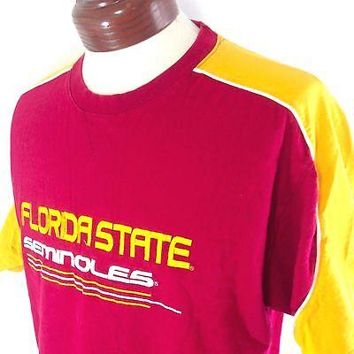 Florida State Seminoles T Shirt Garnet & Gold Embroidered Varsity Mens Large