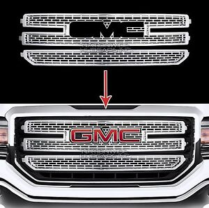 2016 18 gmc sierra 1500 chrome snap on grille overlay 3. Black Bedroom Furniture Sets. Home Design Ideas
