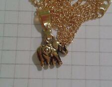 "Antiguo Colgante Dorado Plateado Pequeño Elefante 18"" Collar de Cadena de oro plateado"