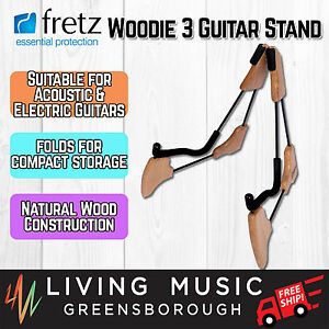 NEW-Fretz-039-Woodie-3-039-Wooden-Frame-Combo-Folding-Electric-amp-Acoustic-Guitar-Stand